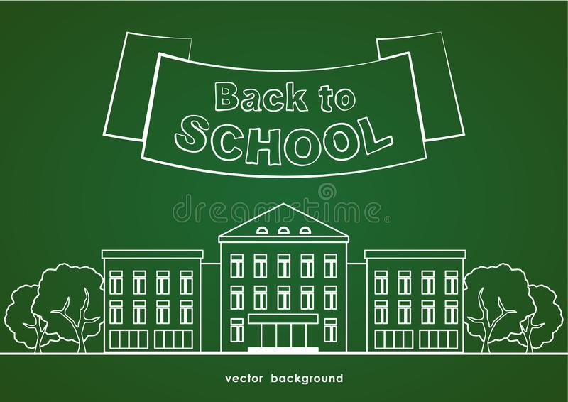 Flat line white school building with trees, ribbon and lettering Back to school on green blackboard background. vector illustration