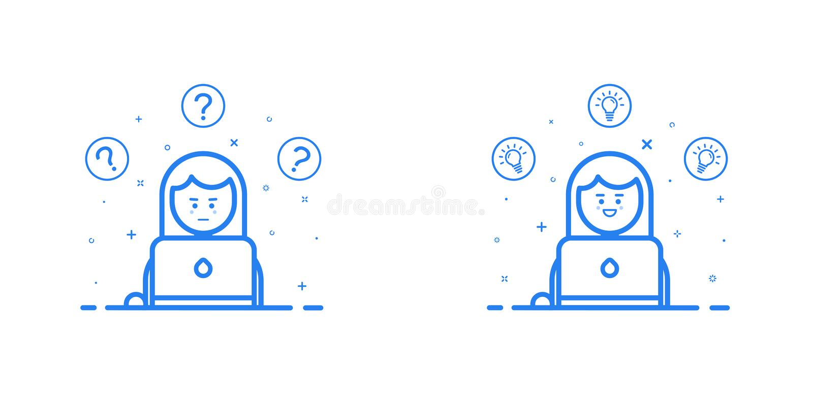 Vector illustration in flat linear style and blue colors - problem solving concept - woman thinking - with question mark stock illustration