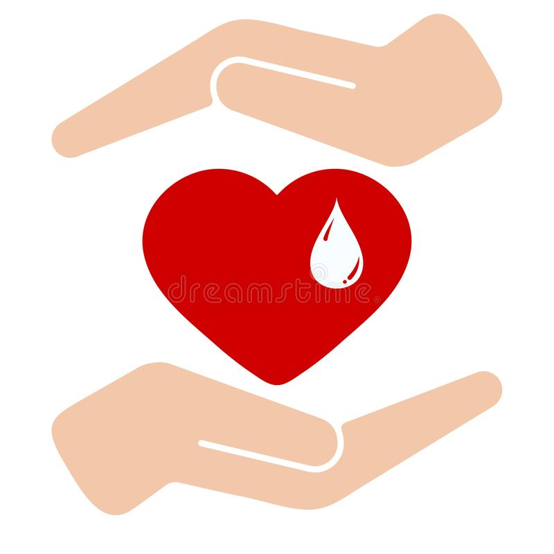 Vector illustration flat medical graphic logo design - blood donation day and save life concept stock illustration