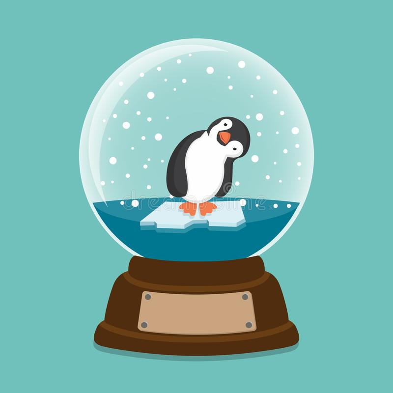 Penguin inside a crystal ball royalty free illustration