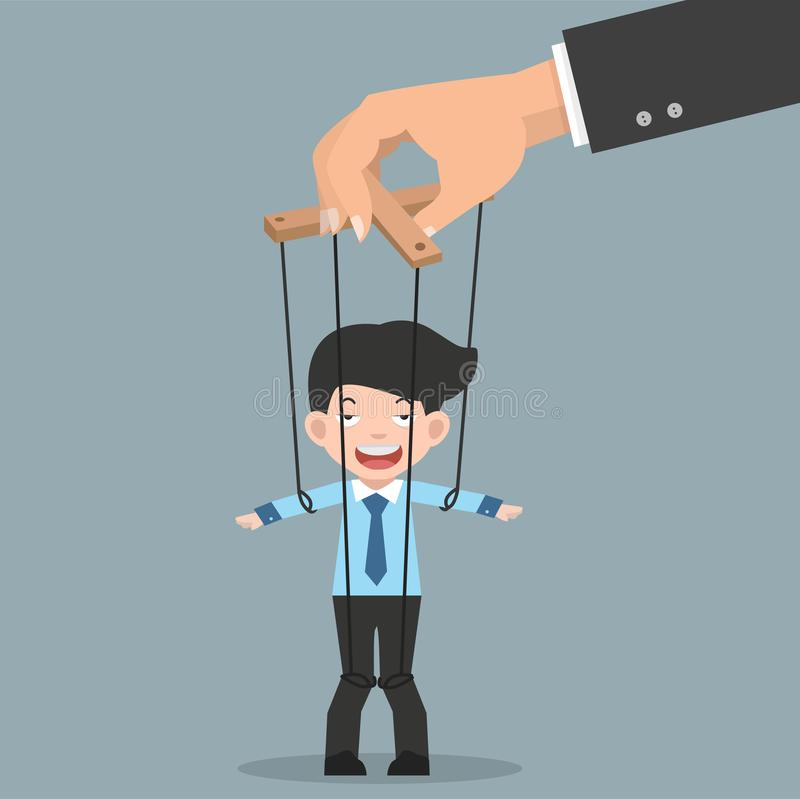 Businessman on Ropes Controlled by Hand. Vector illustration, Flat and minimal vector eps file With Copy Space vector illustration