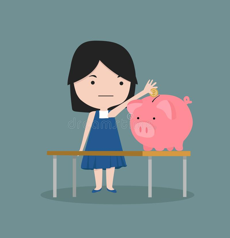 Small girl putting coin a piggy bank money stock illustration
