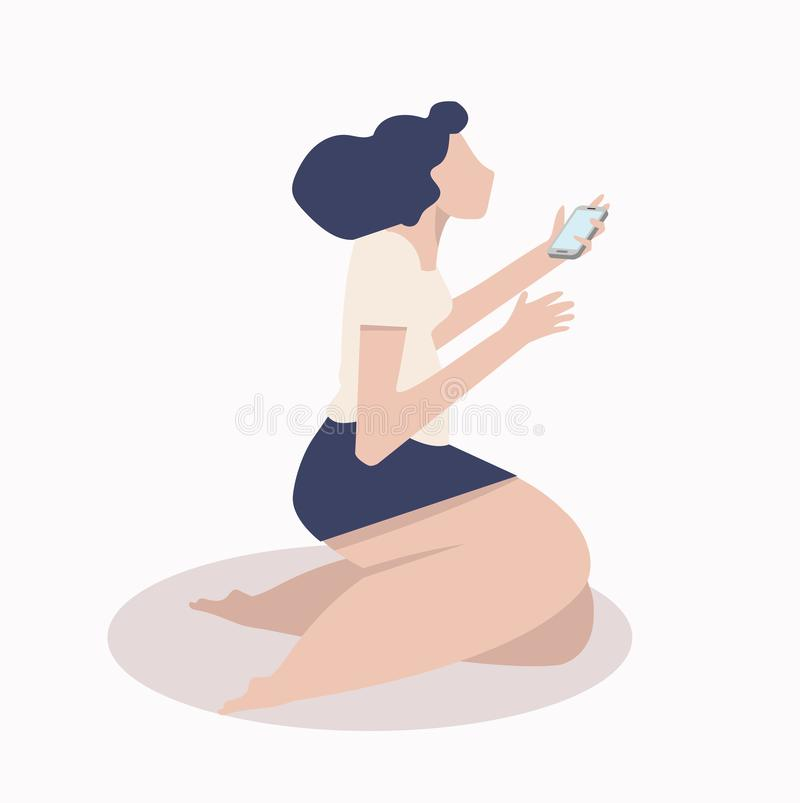 Woman hold mobile in her hand stock illustration