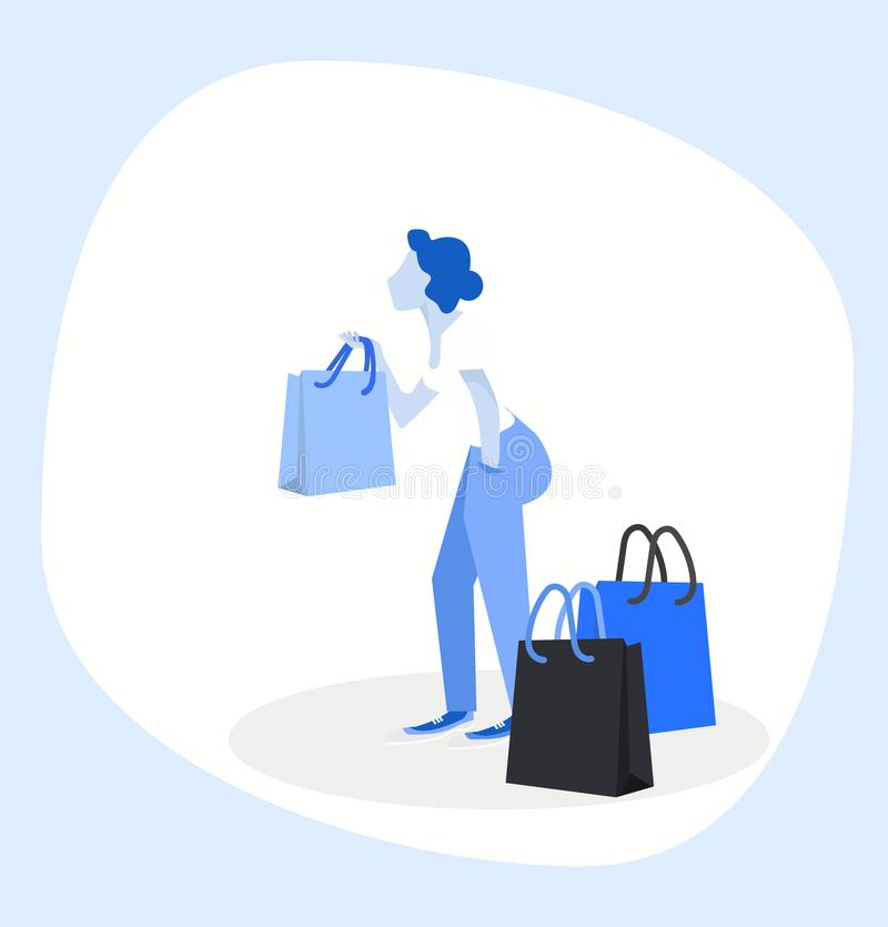 Woman holding shopping bags stock illustration