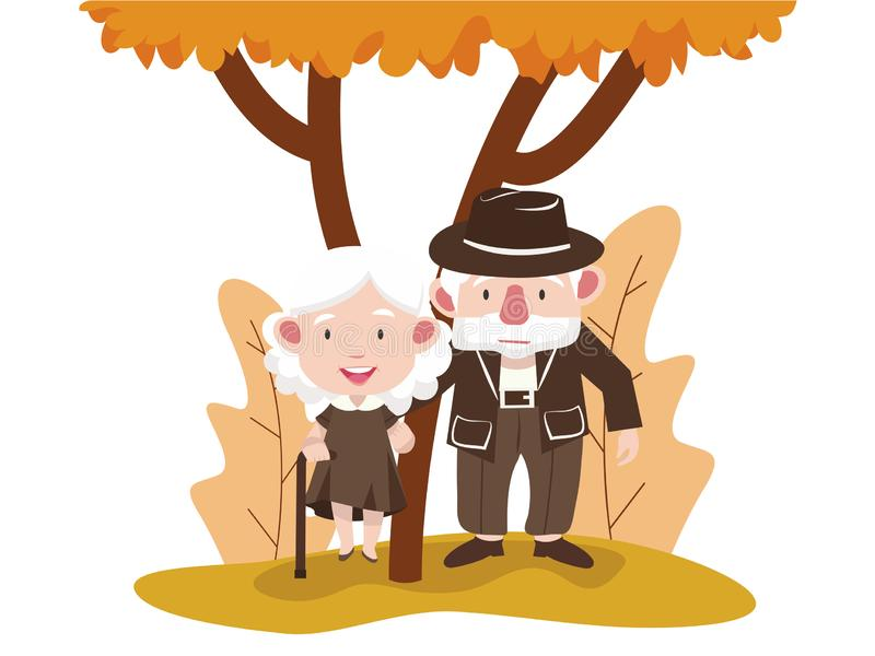 Elderly couple people in the autumn park. Vector illustration, Flat and minimal vector eps file With Copy Space royalty free illustration