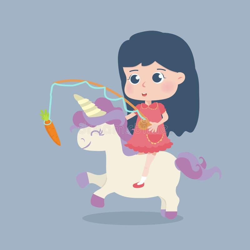 Cute girl riding unicorn stock illustration