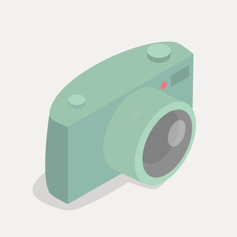Retro green pastel camera icon vector illustration