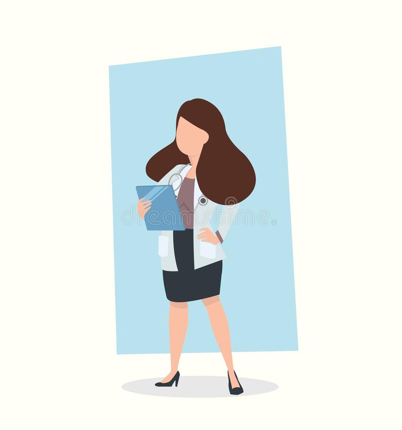 Woman Doctor Holding Clipboard vector royalty free illustration