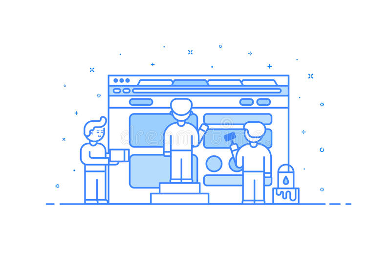 Vector illustration in flat outline and linear style. Concept of web design and user interface development -. Vector illustration in flat outline and linear stock illustration