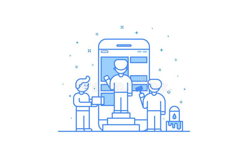 Vector illustration in flat outline style. Graphic design concept of mobile app design and user interface development. Small people building application with stock illustration
