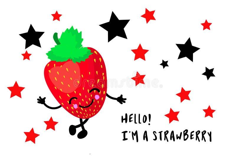 Vector Illustration Flat Strawberry Cute Ausdruck Emotionskollektion auf weißem Hintergrund isoliert, minimaler Stil lizenzfreie abbildung