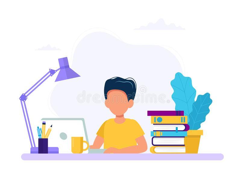 Boy studying with computer and books. Back to school, online education concept vector illustration in flat style vector illustration