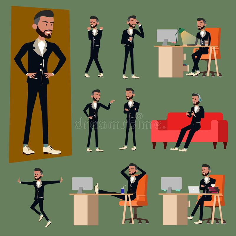 Vector illustration in a flat style of business office men or boss in working uniform suit. varies action of salary man vector illustration