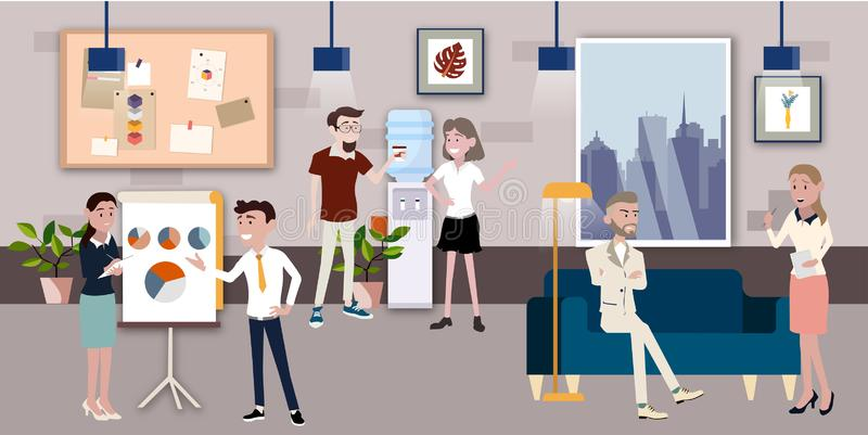 Vector illustration in a flat style of business office team workers women, men and boss in uniform in meeting room with pc laptop stock illustration