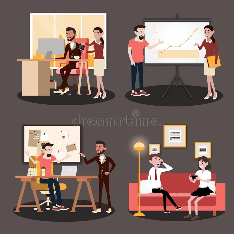Vector illustration in a flat style of business office team workers women, men and boss in uniform in meeting room. With pc laptop and growing chart. They are stock illustration