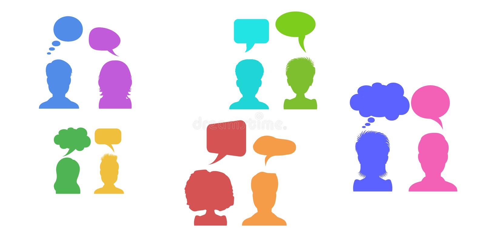 Vector illustration in flat style, businessmen discussion in social media networks, people chatting dialogue with speech bubbles. vector illustration