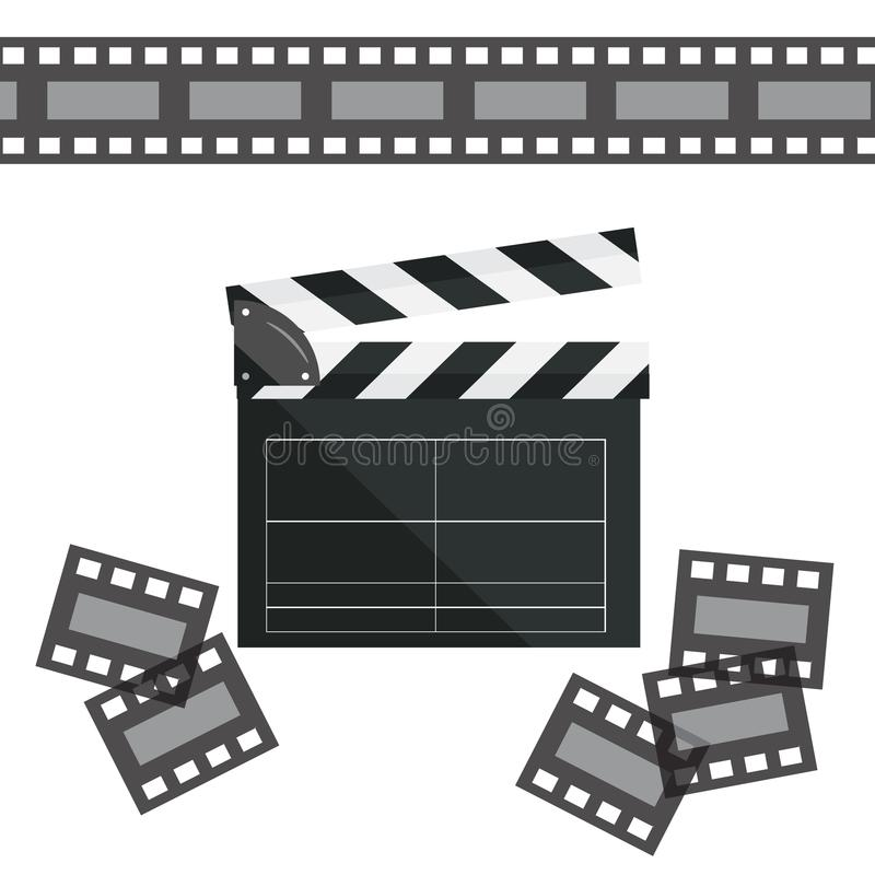 Clapperboard isolated on background. Video movie clapper. Vector illustration in flat style.Clapperboard isolated on background. Video movie clapper equipment royalty free illustration