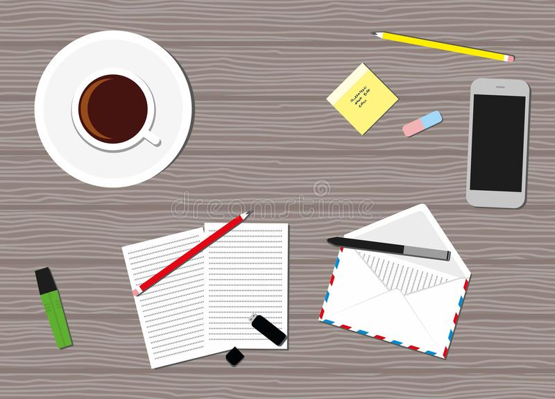 Flat Style Contemporary Design. Top view of the office workplace. Icon of mobile phone, coffee cup, pencil, papers royalty free illustration