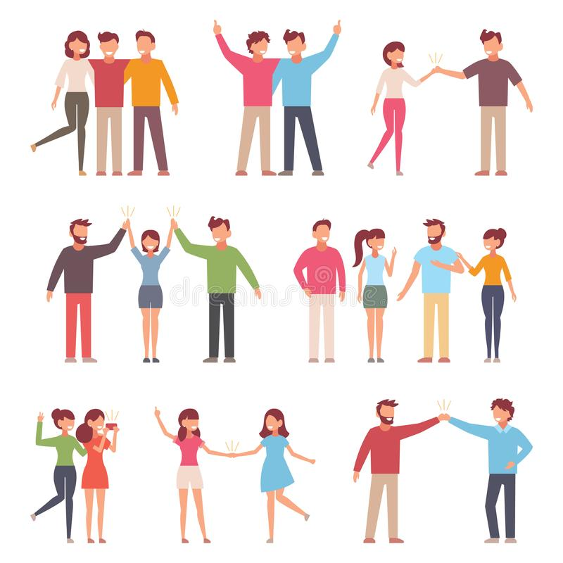 Vector illustration in a flat style of group of happy fashion people - best friends forever stock illustration