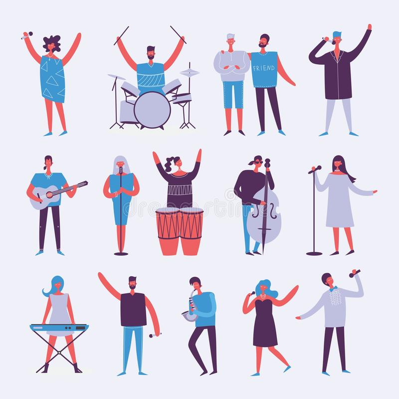 Illustration in a flat style of group of musicians vector illustration