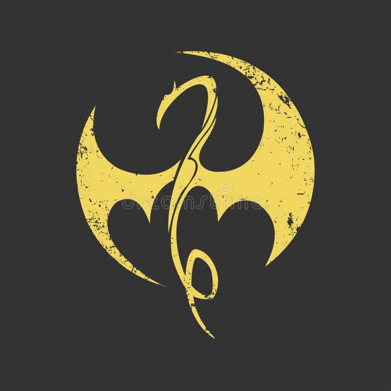 Emblem dragon, company logo, tattoo sign. Vector illustration, flat style, idea for tattoo, zodiac sign, sports emblem vector illustration