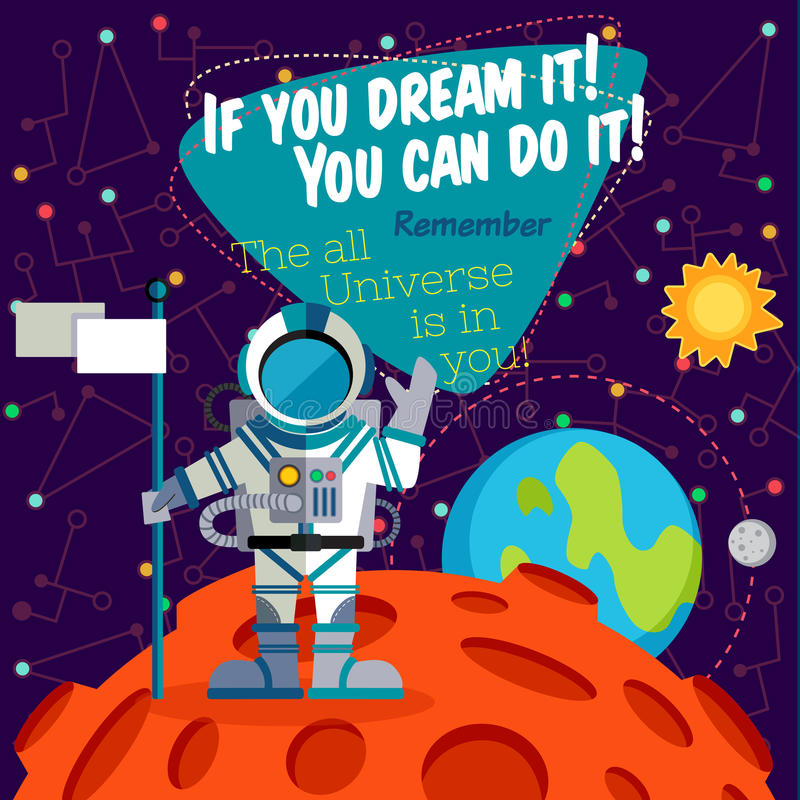Vector illustration in flat style about outer space. royalty free illustration