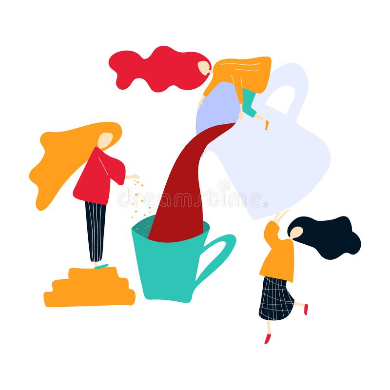 Vector illustration in flat style with with woman preparing a drink: juise, mulled wine or compote. royalty free illustration