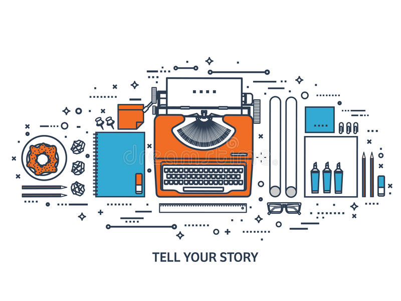 Vector illustration. Flat typewriter.Laptop. Tell your story. Author. Blogging.Line art. stock illustration
