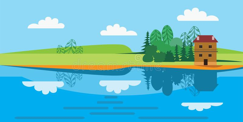 Flat vector illustration of landscape drawing of a small house on the river bank. Vector illustration of flat vector of landscape drawing of a small house on the royalty free illustration