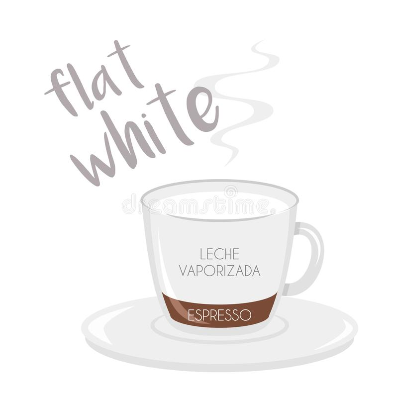 Flat White coffee cup icon with its preparation and proportions and names in spanish. Vector illustration of a Flat White coffee cup icon with its preparation stock illustration