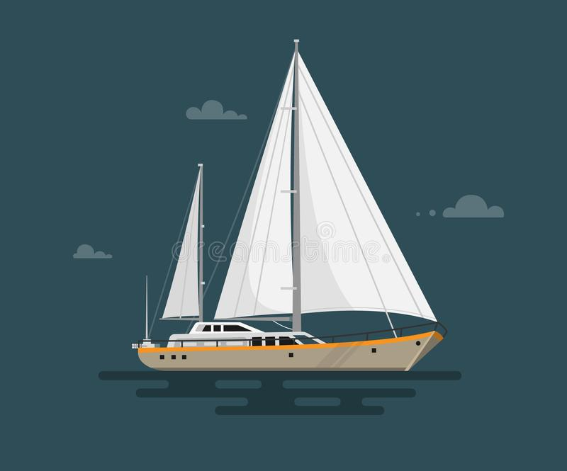 Vector illustration of flat yacht. stock illustration