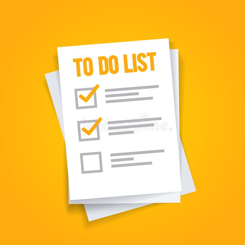 Vector illustration flat To do list icon concept. Paper sheets with check mark. Vector illustration flat yellow To do list icon concept. Paper sheets with check stock illustration