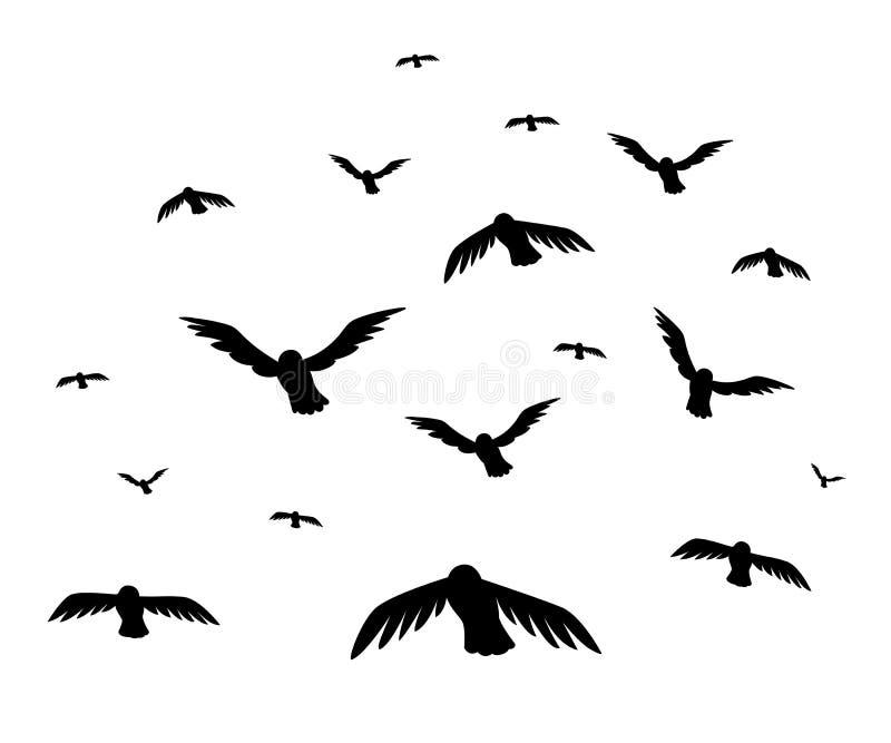 Vector illustration a flock of flying birds. starlings stock illustration