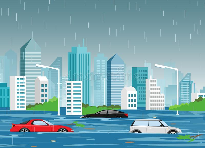 Vector illustration of flood natural disaster in cartoon modern city with skyscrapers and cars in water. Storm in the. City, landscape background for web banner stock illustration
