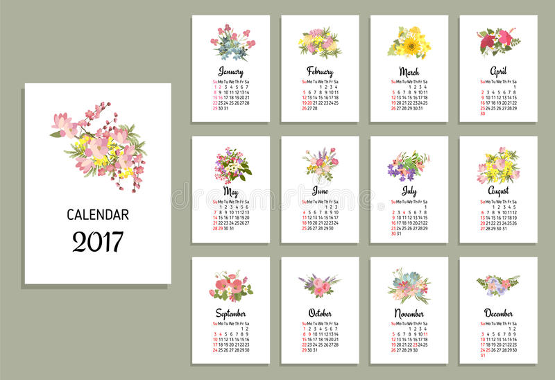 Calendar Month Illustration : Vector illustration of floral calendar stock