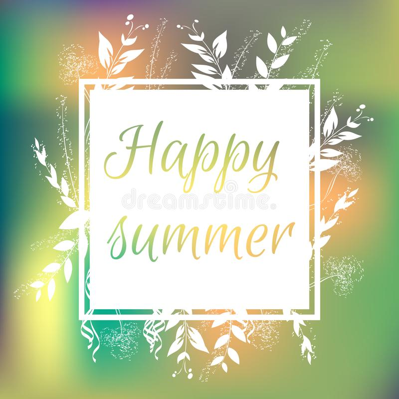 Floral colorful summer background with white frame. Happy summer. stock illustration