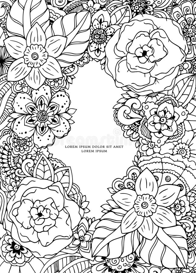 Vector illustration , floral frame. Doodle drawing. Coloring book anti stress for adults. Meditative exercises. Black. And white stock illustration