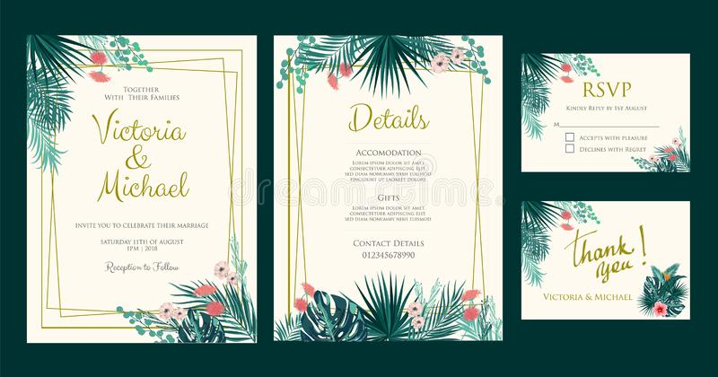 Wedding Invitation, Floral Invite, Tropical Palm Leaf Stock Vector