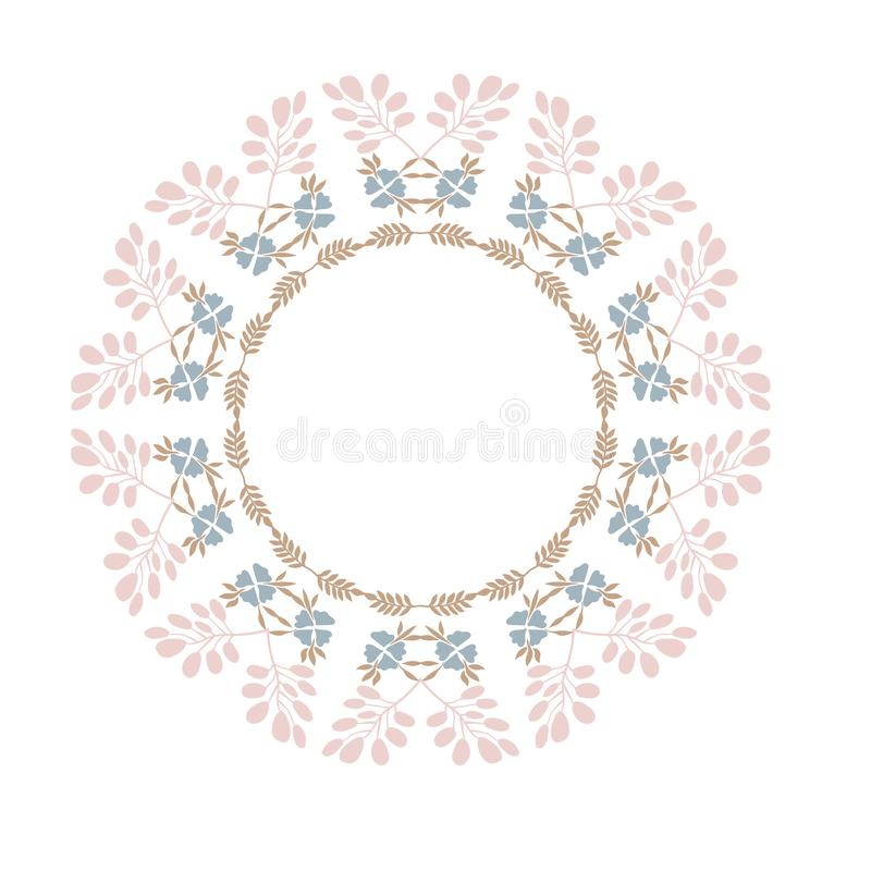 Vector illustration with floral frame silhouette. Herbal elements in circle. Decorative element for card, sticker, wall decor, stock illustration
