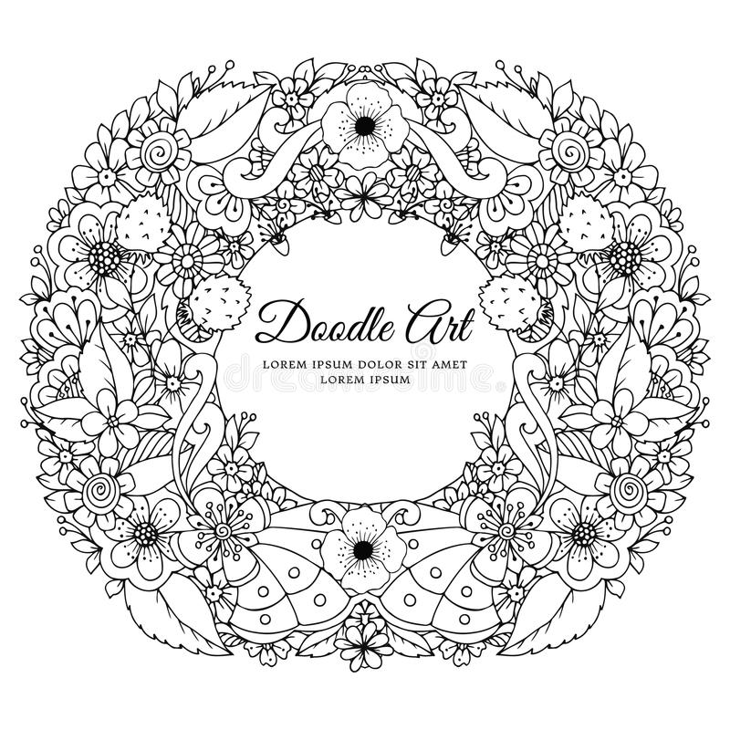 Vector illustration of floral frame Zen Tangle. Dudlart. Coloring book anti stress for adults. Black white. royalty free illustration