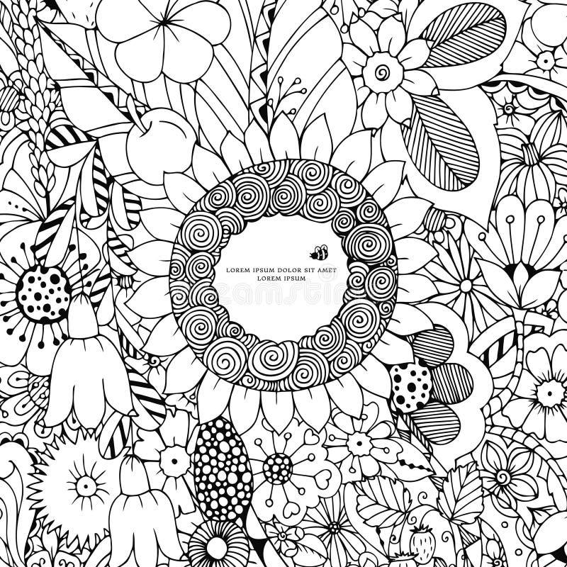 Download Vector Illustration Of Floral Frame Zen Tangle