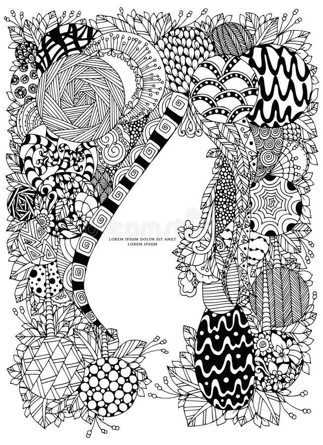 Vector illustration of floral frame Zen Tangle. Dudlart. Coloring book anti stress for adults. Coloring page. Black white. Vector illustration of floral frame stock illustration