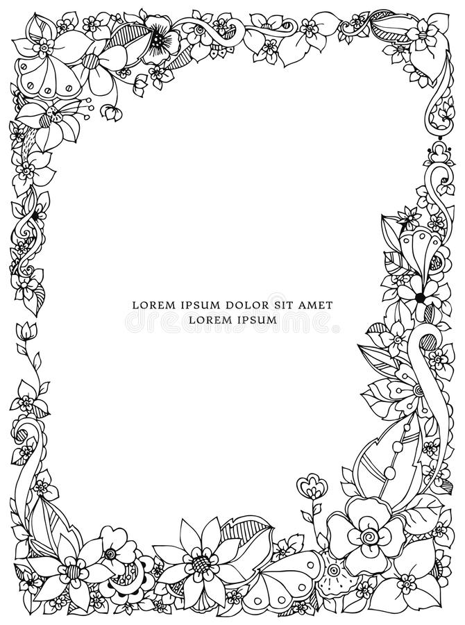 Vector illustration of floral frame zentangle, doodling. Zenart, doodle, flowers, butterflies, delicate, beautiful royalty free illustration