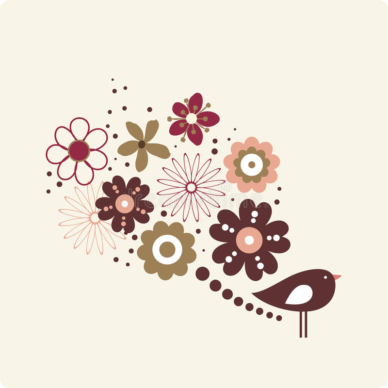 Vector illustration of flower and bird stock illustration