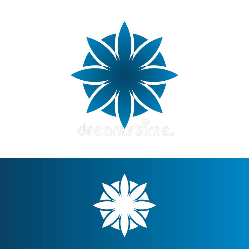 Vector illustration flower blue with circle for logo company royalty free illustration