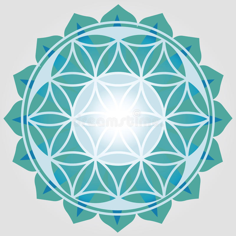 Flower of Life blue print royalty free illustration