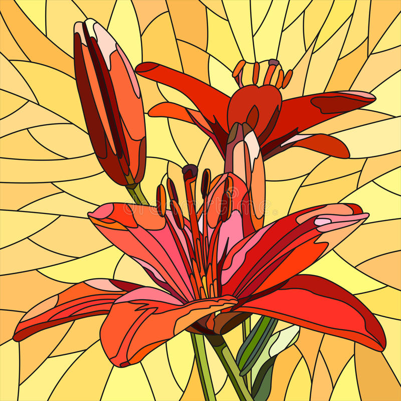 Download Vector Illustration Of Flower Red Lilies. Stock Vector - Image: 27091508