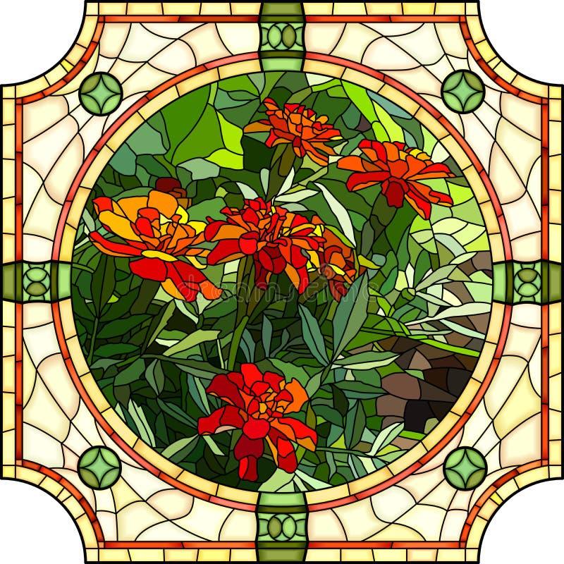 Vector Illustration Flower Red Marigold Stock Vector
