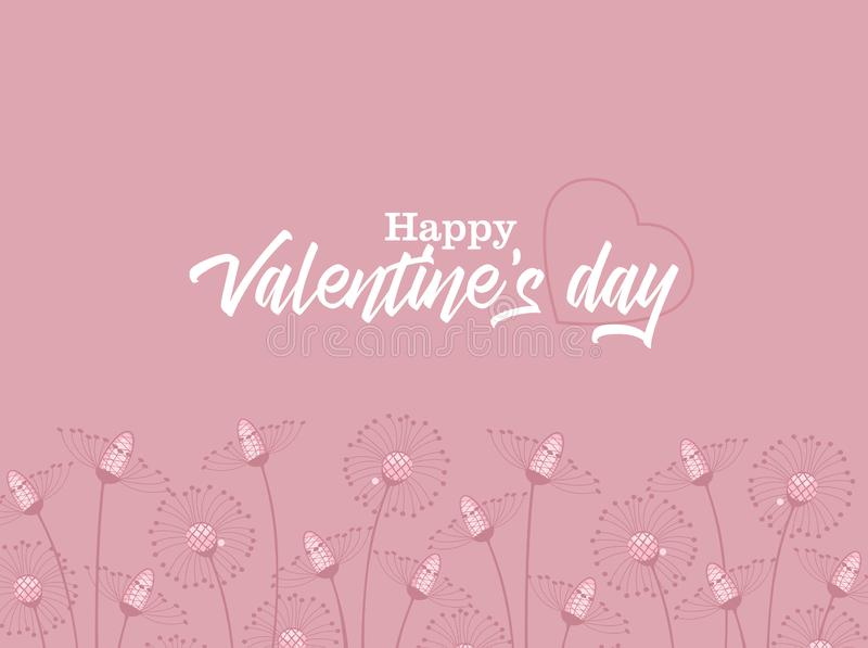 Happy Valentine s Day. Vector illustration of flowers on a colorful background. Happy Valentine s Day stock illustration