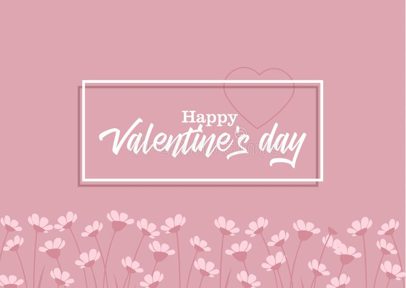 Happy Valentine s Day. Vector illustration of flowers on a colorful background. Happy Valentine s Day vector illustration